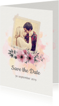 Trouwkaarten - Save the date trouwkaart watercolour