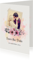Trouwkaarten - Save the date trouwkaart watercolour