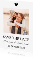 Trouwkaarten - Save the Date zwart wit eigen foto