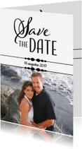 Trouwkaarten - Save the Date - zwart wit EM