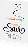 Trouwkaarten - Save the Date zwart wit hart SG