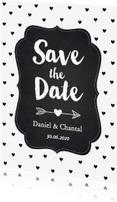 Trouwkaarten - Save the Date zwart-wit hartjes