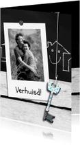 Verhuiskaarten - Schoolbord hout foto eigen tekst