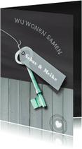 Verhuiskaarten - Schoolbord Hout Sleutel print