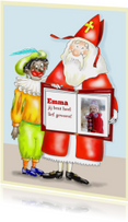 Sinterklaaskaarten - Sint en Piet met grote boek