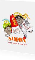 Sinterklaaskaarten - Sint en zwarte pieten met paard