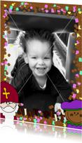 Sinterklaaskaarten - Sint Piet en snoepgoed fotokaart