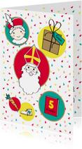 Sinterklaas en Piet in cirkels op vrolijke achtergrond