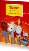 Sinterklaaskaarten - Sinterklaas Piet Paard Boot