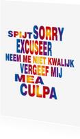 Sorry kaarten - Sorry het spijt me