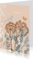 Sterkte kaarten - Sterkte kaart met vogel op tak
