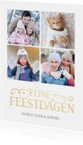 Kerstkaarten - Stijlvolle enkele fotocollage kerstkaart met 4 foto's