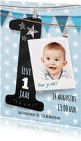 Kinderfeestjes - Stoere uitnodiging 1 jaar jongen
