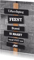 Uitnodigingen - Stoere uitnodiging muur grijs