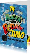 Verjaardagskaarten - Strip camouflage bom stoer blauw cartoon