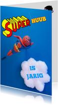 Verjaardagskaarten - Superman jarige jongen 3d