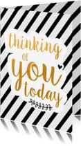 Liefde kaarten - Thinking of you zwart/goud