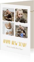Nieuwjaarskaarten - Trendy fotocollage nieuwjaarskaart met 4 foto's en namen