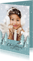 Kerstkaarten - Trendy Kerstbomen en sneeuw - SG
