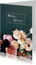 Trouwkaarten - Trouwen bloemen schilderstijl