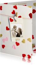 Trouwkaarten - trouwkaart confetti hartjes