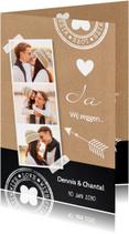 Trouwkaarten - Trouwkaart kraft krijtbord fotocollage