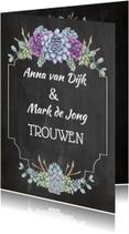 Trouwkaarten - Trouwkaart krijtbord vetplanten