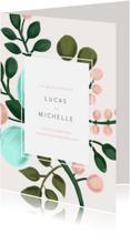 Trouwkaarten - Trouwkaart met geschilderde takken en kader