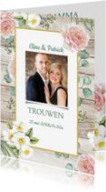 Trouwkaarten - Trouwkaart rozen houtlook