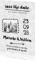 Trouwkaarten - Trouwkaart save the date uitnodiging