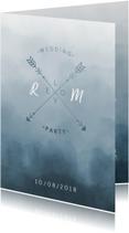 Trouwkaarten - Trouwkaart Scandinavisch met pijlen staand