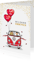 Trouwkaarten - Trouwkaart VWbus front