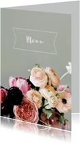 Menukaarten - Trouwmenu bloemen aquarelstijl licht