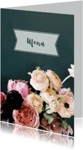 Menukaarten - Trouwmenu bloemen oudroze