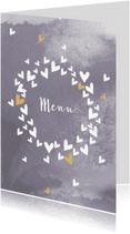 Menukaarten - Trouwmenu harten cirkel lila grijs
