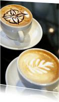 Ansichtkaarten - Twee kopjes koffie - Cappuccino