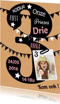 Kinderfeestjes - uitnodiging 3 jaar karton