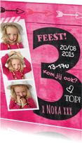 Kinderfeestjes - Uitnodiging 3 jaar schoolbord