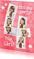 Kinderfeestjes - uitnodiging 4 jaar Girl