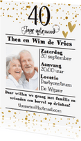 Jubileumkaarten - Uitnodiging 40 confetti - LO