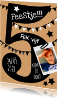 Kinderfeestjes - uitnodiging 5 jaar karton