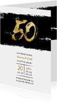 Uitnodiging 50 stoer met zwarte inkt