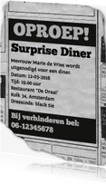 Uitnodigingen - uitnodiging - advertentie Surprise Diner