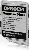 Uitnodigingen - uitnodiging - advertentie Surprise Diner