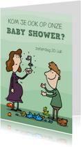 Uitnodigingen - Uitnodiging baby shower baby douche