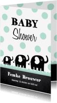 Uitnodigingen - Uitnodiging babyshower olifantjes mint - LB