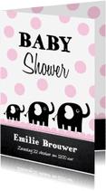 Uitnodigingen - Uitnodiging babyshower olifantjes roze stippen - LB
