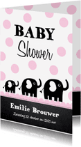 Uitnodigingen - Uitnodiging babyshower olifantjes roze stippen