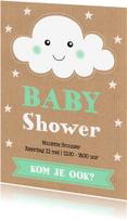 Uitnodigingen - Uitnodiging babyshower wolkje sterren kraft