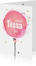 Kinderfeestjes - Uitnodiging ballon  - watercolor